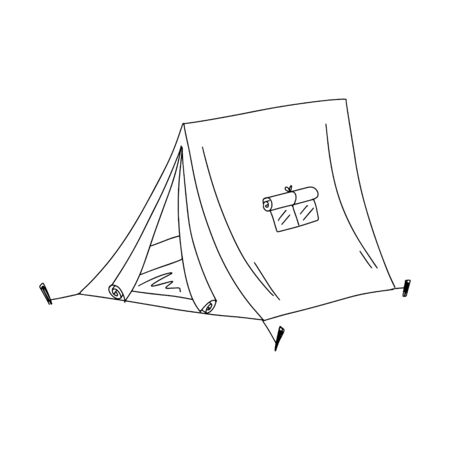 Tourist tent. Doodle style. Black and white vector illustration. The element is hand-drawn and isolated on a white background. Camping tent with an open door. Simple design Illusztráció