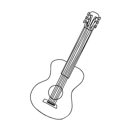 Classical guitar. Doodle style. Black and white vector illustration. The element is hand-drawn and isolated on a white background. Musical string instrument. simple design.