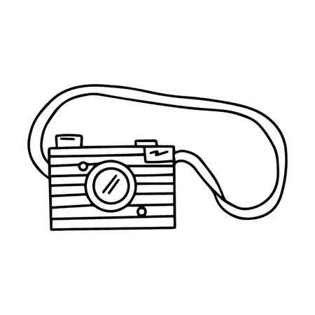 Black and white camera on the strap in a doodle style. Vintage camera with a lens. Simple vector illustration drawn by hand, isolated on a white background. Outline drawing.