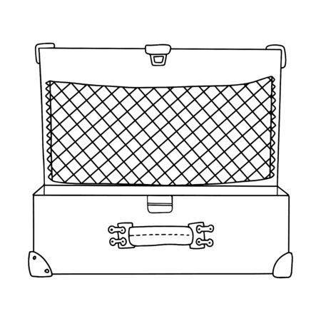 Opened vintage empty suitcase with handle, net and corners. Black and white vector illustration in doodle style.Suitcase without wheels. For design of travel. hand drawn and isolated on white.outline