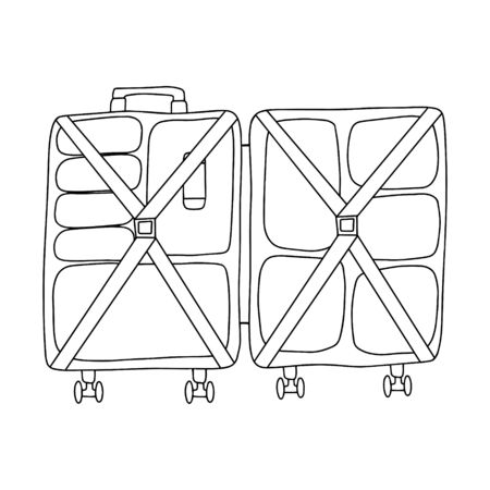 Opened suitcase on the wheels.Filled with abstract clothing with holding straps.Black and white vector illustration in doodle style.For travel. Simple outline drawing,hand drawn and isolated on white
