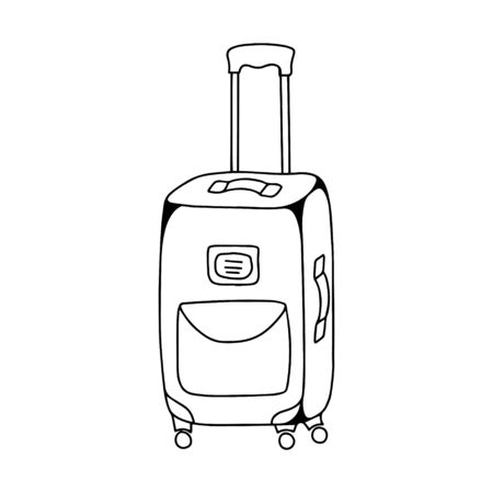 A closed suitcase with a pocket and a tag stands on wheels.Black and white vector illustration in doodle style.For design on the theme of travel.Simple outline drawing,hand drawn and isolated on white