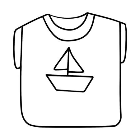 Folded t-shirt with a boat with a sail. Summer clothes with short sleeves. Black and white vector illustration in doodle style. Simple outline drawing. Hand drawn and isolated on white