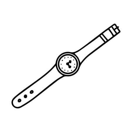 Black-white wrist watch on a belt. Doodle style. Not worn watch on the strap. at 3 o clock hours. Simple vector illustration drawn by hand, isolated on a white background. Outline drawing Illusztráció