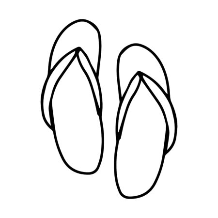 A pair of summer flip flops for the sauna, bathhouse and beach. Black and white vector illustration in doodle style. Summer shoes. Simple outline drawing by hand and isolated on a white background
