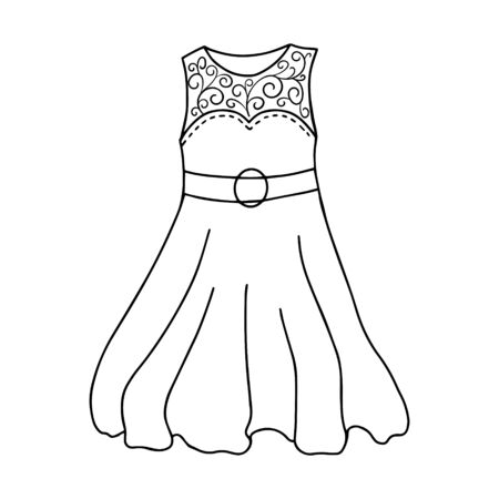 Black-white women s dress without sleeves. Openwork top. belt with a buckle. Doodle style. Sundress, womens summer clothing. Simple vector illustration drawn by hand, isolated on a white background