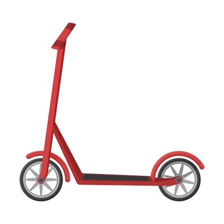 Scooter in a flat style. Vector illustration. Non-fuel, non-polluting urban transport. Object is isolated on a white background. Eco-friendly vehicle simple design