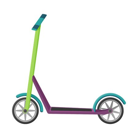 Scooter in a flat style. Vector illustration. Non-fuel, non-polluting urban transport. Object is isolated on a white background. Eco-friendly vehicle simple design.