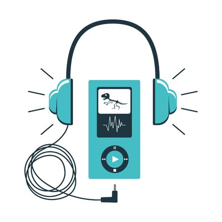 Icon of the Museum audio guide. Headphones with a wire connected to a gadget with control buttons. Audio accompaniment in the Museum. Vector illustration in blue color scheme. isolated on white Ilustracja