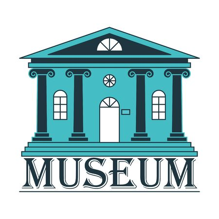 Icon or logo of a Museum, Bank, or theater. A building with columns in a linear style. Color vector illustration. Isolated on a white background Ilustracja
