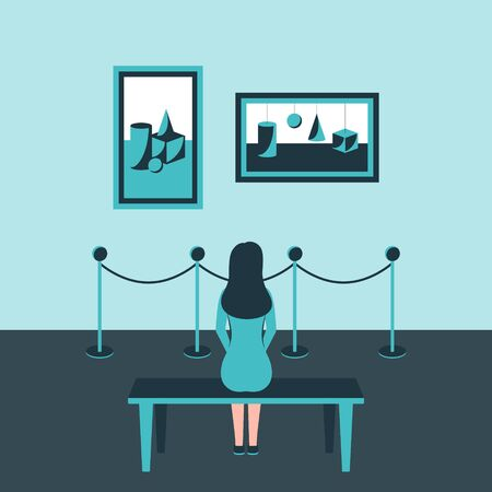 A girl sits back on a bench in a Museum, at an exhibition of modern art and looks at abstract paintings hanging on the wall behind the fence. Monochrome blue color scheme. Vector illustration. Concept