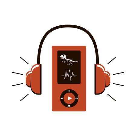 Audio guide icon. Headphones and a device with control buttons. On the screen, a dinosaur skeleton. Audio accompaniment in the Museum. Vector illustration in brown color scheme. Isolated on white