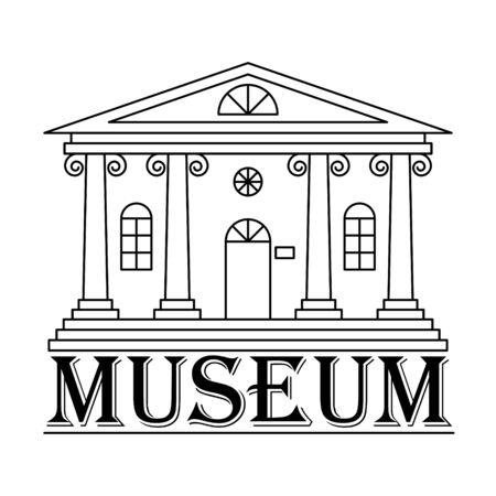 Icon or logo of a Museum, Bank, or theater. A building with columns in a linear style. Simple black and white vector illustration. Isolated on a white background.