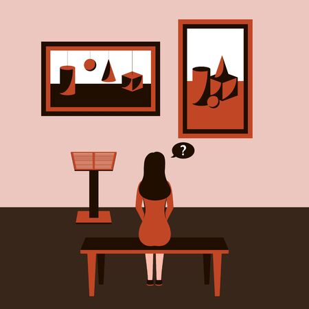 A girl sits back on a bench in a Museum, at an exhibition of modern art and looks at paintings with geometric shapes hanging on the wall. Monochrome brown color scheme. Vector illustration. Concept. Ilustracja