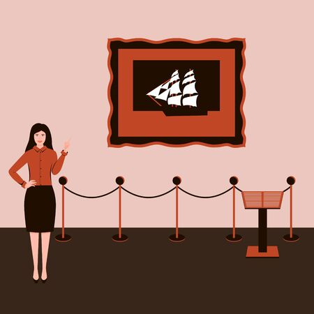 Actions in a Museum or exhibition. A girl with a raised hand and index finger, in a skirt, is talking about a picture of a sailboat hanging on the wall. Monochrome brown color scheme. Vector Concept