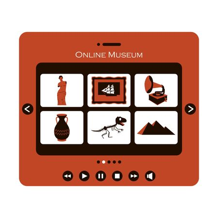 Concept of visiting an online Museum or exhibition. Tablet with categories of Museum items. The symbols of sculpture, ancient culture, the skeleton of a dinosaur. Color vector illustration on white.