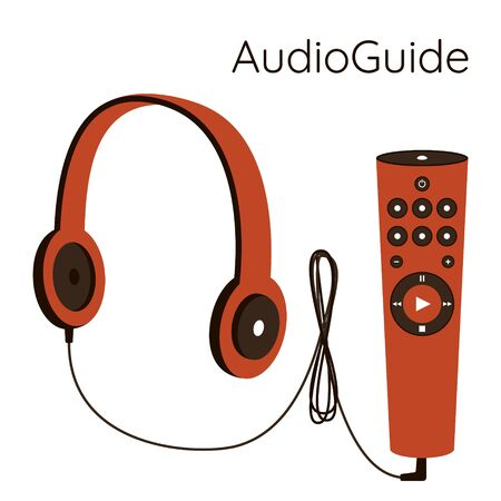 Museum audio guide. Headphones with a wire are connected to a gadget with control buttons.Self-guided tour of the Museum. Vector illustration in blue color scheme. Isolated on a white background.