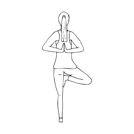A young girl practices Hatha yoga. Namaste. Hands behind your back. Indian culture. Gymnastics, healthy lifestyle. Doodle style. Black and white vector illustration. Hand-drawn, isolated on white.