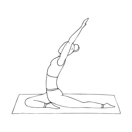A young girl practices Hatha yoga. Indian culture. Gymnastics, healthy lifestyle. Doodle style. Black and white vector illustration. Hand-drawn, isolated on a white background. Ilustracja