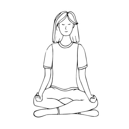 A young girl is engaged in Hatha yoga. Lotus position. Relaxation.Gymnastics, healthy lifestyle. Doodle style. Black and white vector illustration. Hand drawn, isolated on a white background. Ilustracja