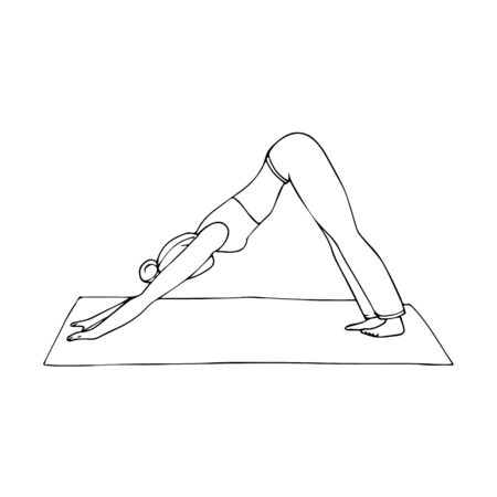 Young girl in yoga pose-Dog face down. Indian culture. Gymnastics, healthy lifestyle. Adho Mukha Of Svanasana. Doodle style. Black and white vector illustration. Hand-drawn, isolated on white.