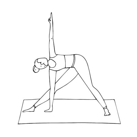 Young girl in yoga pose-triangle pose. Indian culture. Gymnastics, healthy lifestyle. Trikonasana. Doodle style. Black and white vector illustration. Hand-drawn, isolated on a white background