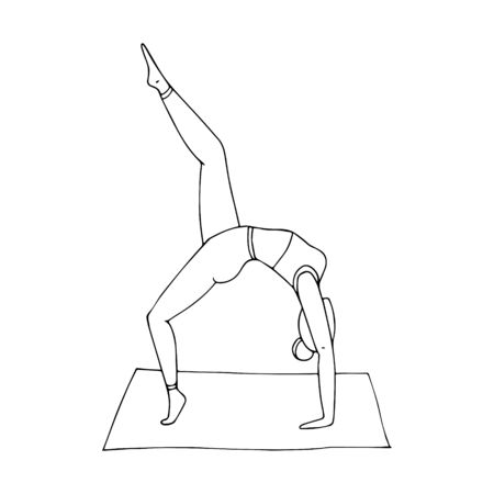 A young girl practices Hatha yoga. Indian culture. Gymnastics, healthy lifestyle. Doodle style. Black and white vector illustration. Hand-drawn, isolated on a white background. Illustration