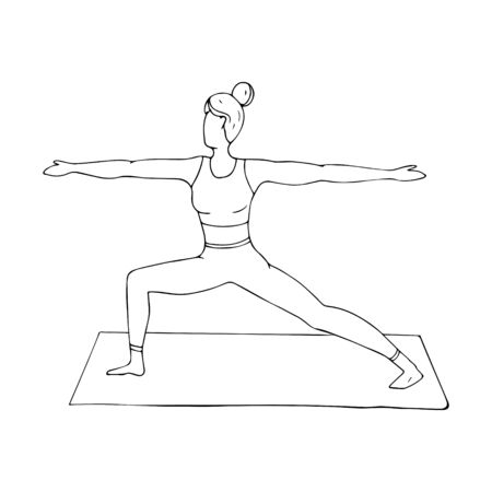 A young girl is engaged in Hatha yoga. The warrior pose. Virabhadrasana. Gymnastics, healthy lifestyle. Doodle style. Black and white vector illustration. Hand drawn, isolated on a white background.