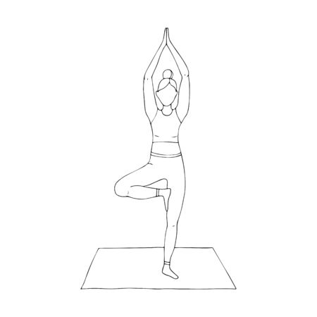A young girl is engaged in Hatha yoga. stands on one leg. The tree pose. Vrikshasana. Gymnastics, healthy lifestyle. Doodle style. Black and white vector illustration. Hand drawn, isolated on white.