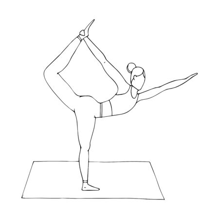A young girl is engaged in Hatha yoga. The standing bow pulling pose. Dhanurasana. Ancient gymnastics, healthy lifestyle. Doodle style. Black-white vector illustration. Hand drawn, isolated on white.