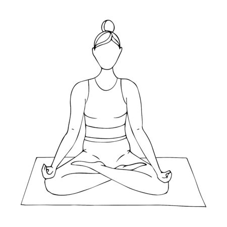 A young girl is engaged in Hatha yoga. Sitting in the Lotus position.Gymnastics, sports,healthy lifestyle. Doodle style. Black and white vector illustration. Hand drawn, isolated on a white background.