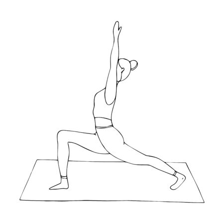 A young girl is engaged in Hatha yoga. The warrior pose. Anjaneyasana. Gymnastics, healthy lifestyle. Doodle style. Black and white vector illustration. Hand drawn, isolated on a white background.