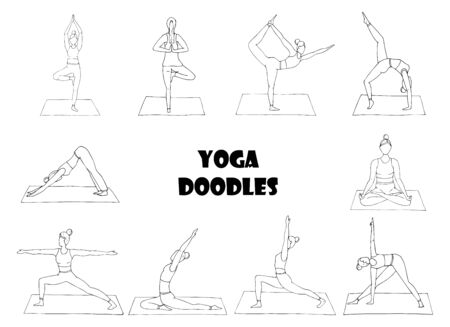 Collection with girls who practice yoga. A set of women in various yoga poses. Indian culture, Gymnastics, sport, healthy lifestyle.Doodle.Black white vector illustration. Hand drawn,isolated on white