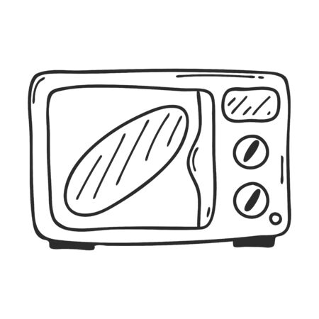 Oven in Doodle style.Kitchen electrical appliances for cooking.Design element for menu design,recipes and food packaging.Hand drawn and isolated on a white background. Black-white vector illustration. Ilustracja