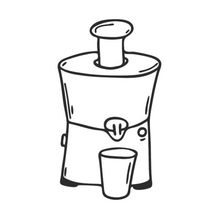 Electric juicer in Doodle style. Kitchen appliance for making fresh juice. Decorative element for menu design, recipes, and food packaging. Hand-drawn and isolated on a white. Black-white vector.