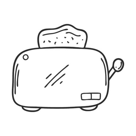Doodle style electric toaster. Kitchen appliance for making toast for breakfast. Design element for decorating menus, recipes, packaging for food. Hand drawn and isolated on white. Black-white vector