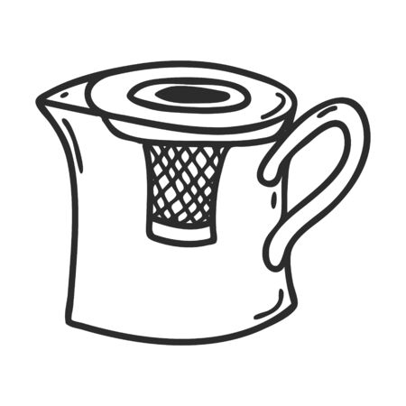 Kettle for making tea in Doodle style.Kitchen appliance for making tea.Decorative element for menu design, recipes, and food packaging. Hand-drawn and isolated on a white background.Black-white vector