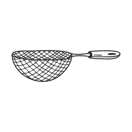 Sieve or colander. Kitchen tools, utensils for sifting flour. Decorative element for menu design, recipes, and food packaging. Hand-drawn and isolated on a white background.Black-white vector Ilustracja