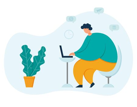 Obese young male freelancer working at a laptop. Symbols of money and business. Home office with a modern Desk and chair. The concept of remote work. Trend vector illustration in flat style
