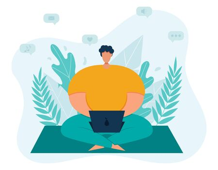 A young plump man freelancer spends time in social networks at a laptop, sitting cross-legged. Abstract leaf background. The concept of remote work. Simple trend vector illustration in flat style..