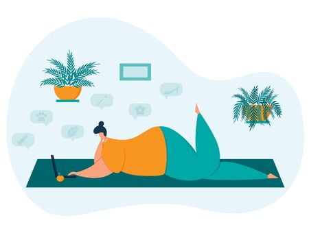 A plump girl with a small head lies coquettishly raising her leg.Working on a laptop or doing online shopping.Home decor with wall-mounted indoor flowers. Color trend illustration in flat style.Vector Ilustracja