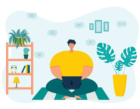 A young overweight male freelancer spends time on a laptop, sitting cross-legged.Home environment. The concept of remote work from home.Vector illustration in flat style. Symbols of money and business