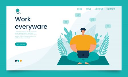 Landing page template. The concept of a web page for freelancing, work from anywhere, remote work and business. A man works with a laptop sitting in the Park. vector illustration in a flat style.