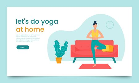 Landing page template. Concept of a web page for yoga classes. A woman stands in pranamasana in a living room, home environment. Color vector illustration in a flat style