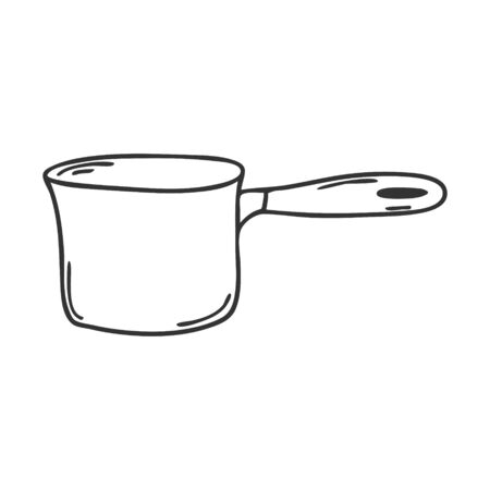 Stew-pan with handle. Kitchen utensils, coolware. Design element for decorating menu, recipes, and food packaging. Hand drawn and isolated on white. Black-white vector illustration. Illustration