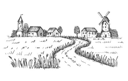 Sketch of a rural landscape. The road leading to the farm, houses, mill through a wheat field. Good for packaging eco-friendly, natural food. Engraved, etched image.Hand drawn. Black and white vector