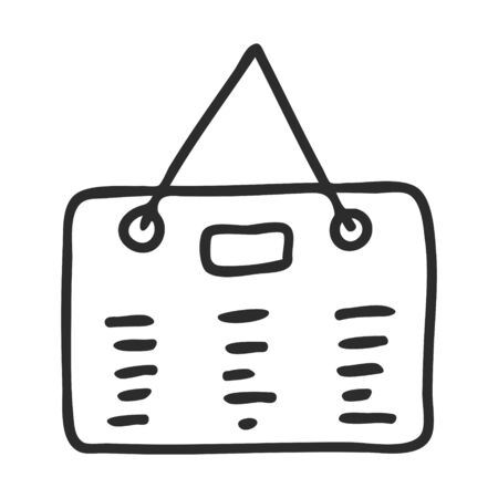 A Doodle-style to-do list. A check-list to mark a task as completed. Schedule. The icon is hand-drawn and isolated on a white background. Black and white vector illustration.