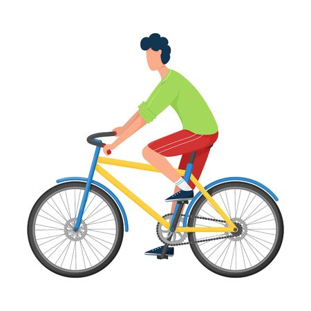 A young man rides a Bicycle in bright casual clothes and sneakers. Flat style. Sports training, active lifestyle. Color vector illustration. Isolated on a white background