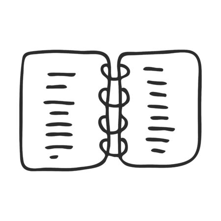 A notebook, a reminder book, a diary. Doodle style. Fastened with rings. Notepad for notes and to-do lists. A simple black and white illustration is hand drawn and isolated on a white background