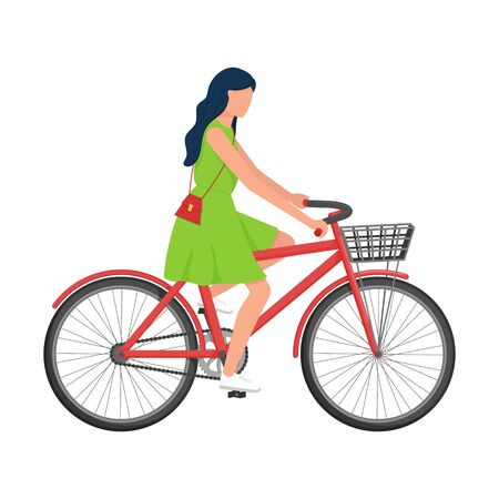 A woman with long hair in a dress with a purse over her shoulder rides a Bicycle with a basket. Urban environmental transport. Summer vector illustration. Isolated on a white background. flat style.